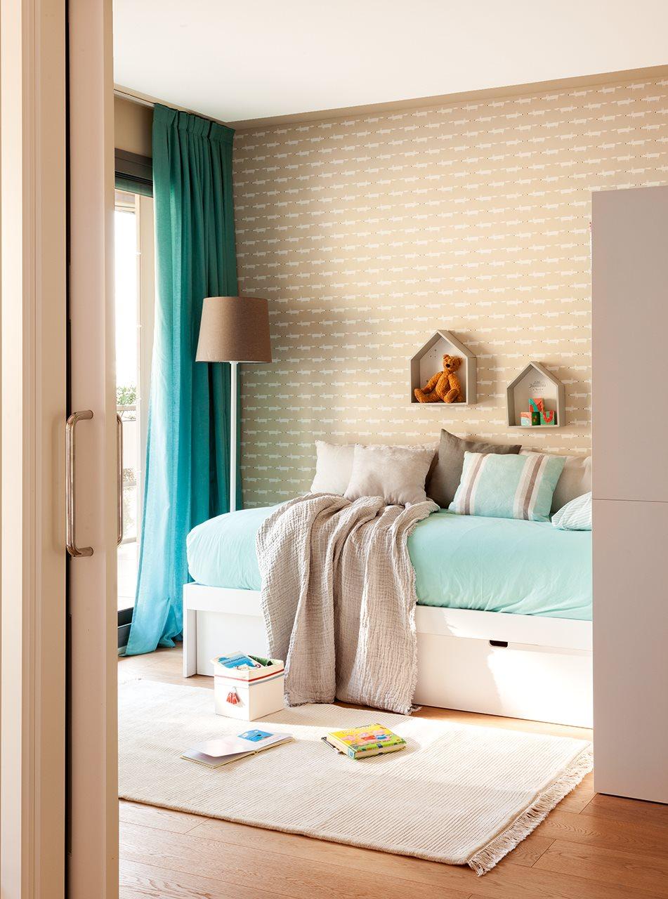 Aprovechar muebles mudanza - Papel pintado turquesa ...