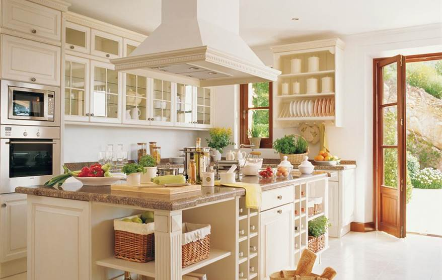 Cocinas en blanco luz amplitud y belleza - Cocina rustica blanca ...
