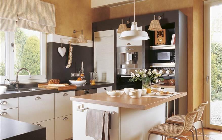 Dise o de una cocina con barra de desayuno - Cocinas naranjas y blancas ...