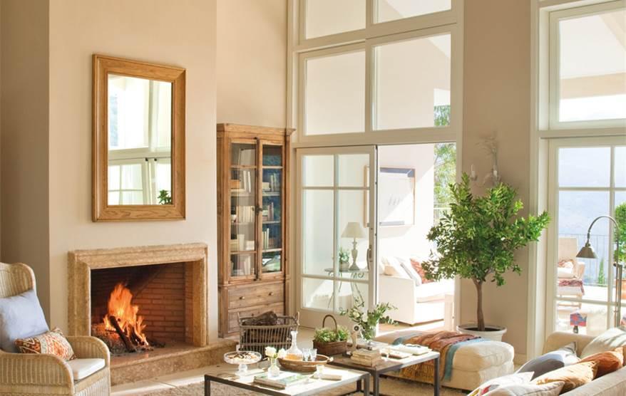 15 salones con chimenea for Salones minimalistas con chimenea
