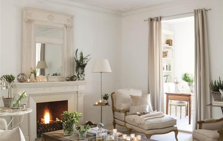 Cuatro salones peque os pero perfectos for Chimeneas en apartamentos pequenos