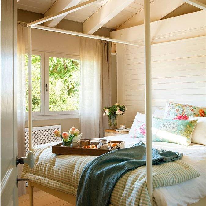 Decoraci n de dormitorios de cine - Cama con techo de tela ...