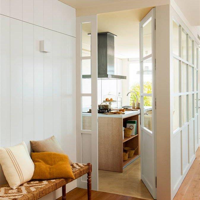 Las claves para decorar un recibidor perfecto - Banco de madera para cocina ...