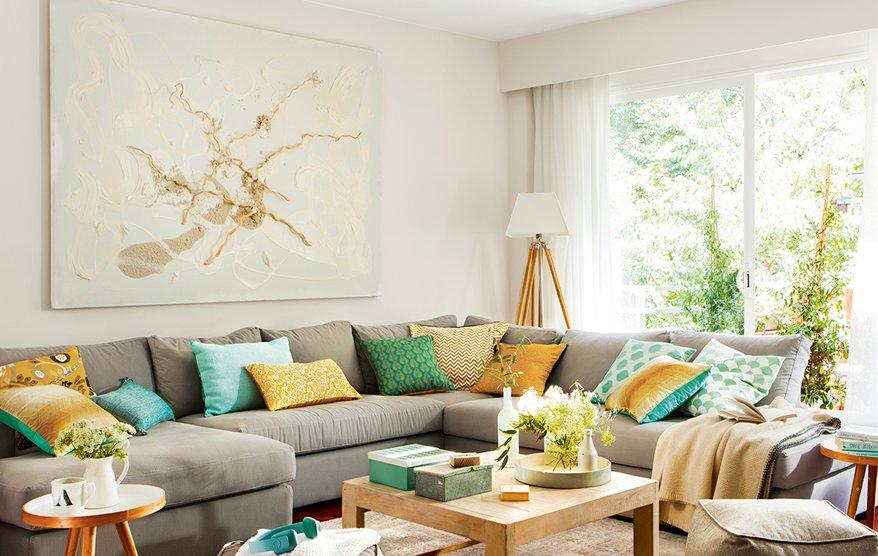 Trucos para ganar espacio en un piso de 80 metros cuadrados - Sofa esquinero pequeno ...