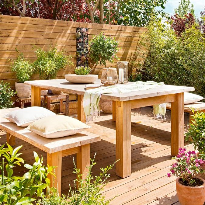 Terraza de madera exteriores al natural for Muebles para terraza en madera