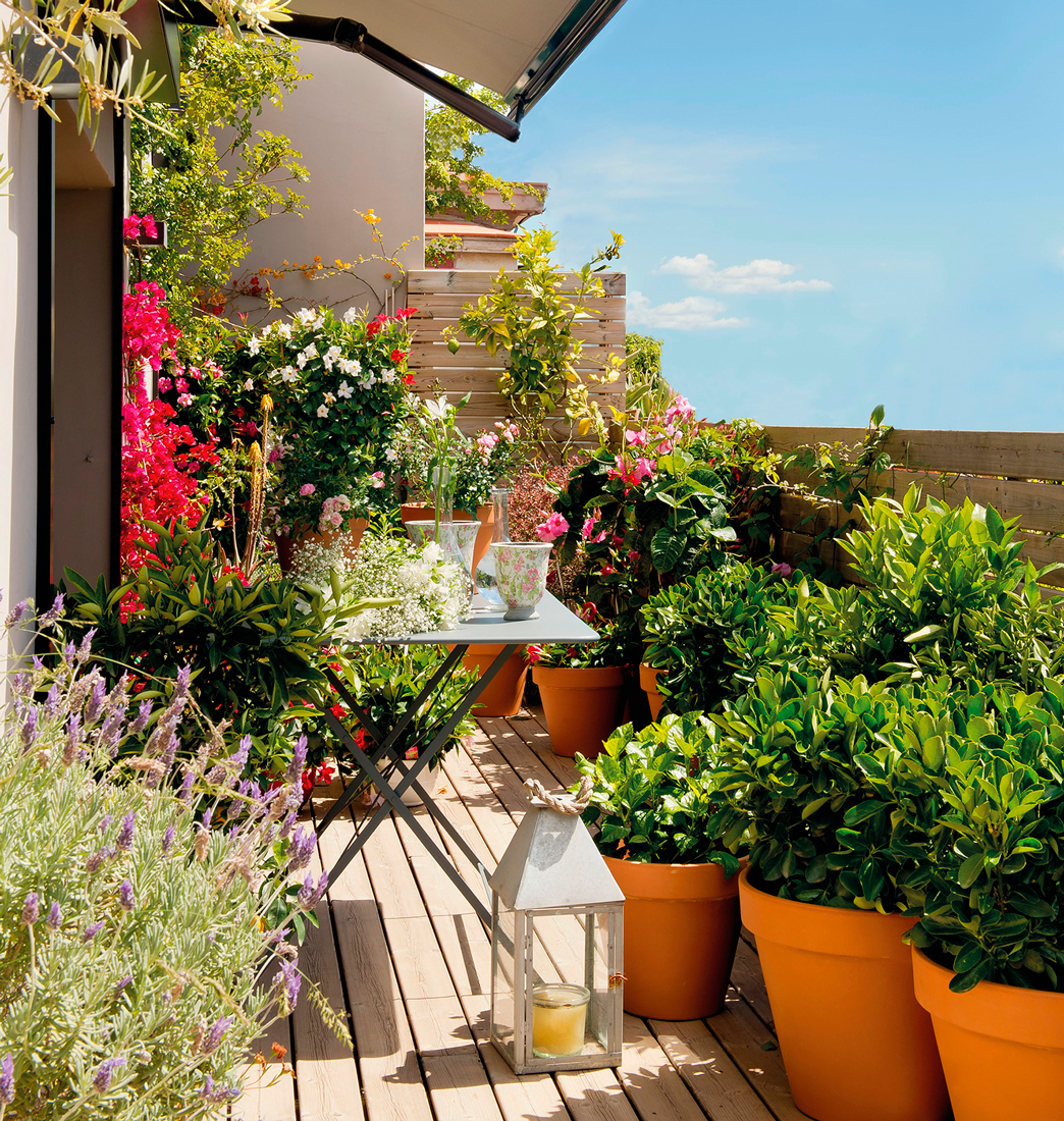 10 terrazas peque as pero bien aprovechadas for Plantas para decorar jardines