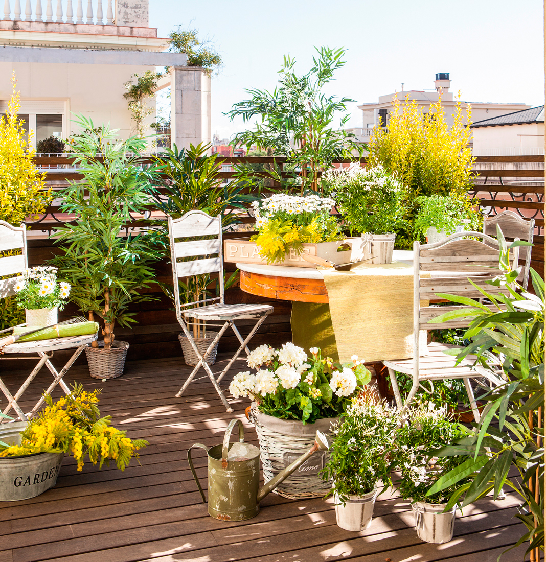 10 terrazas peque as pero bien aprovechadas for Plantas pequenas para jardin