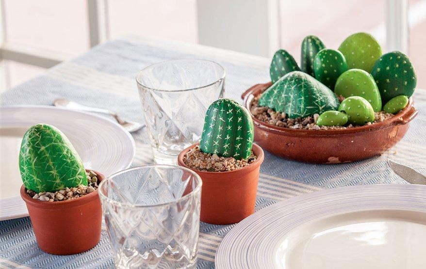 Cactus sper resistentes hechos con piedras