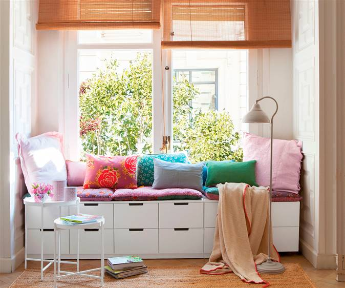 Crea un rinc n de lectura en solo 2 m2 - Cojines para sentarse ...
