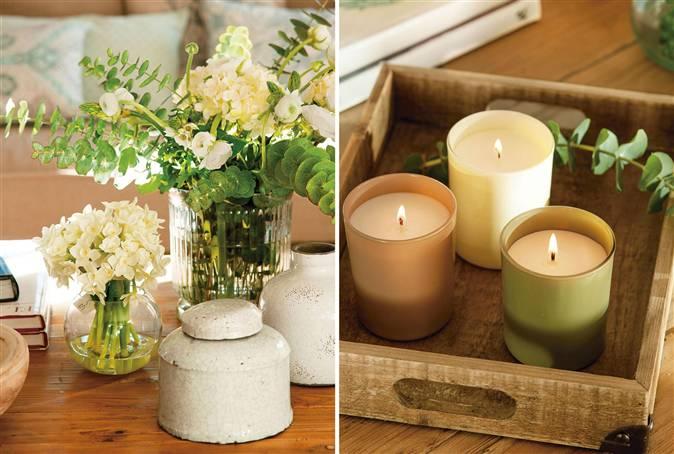 C mo decorar y aprovechar la mesa de centro for Decorar jarrones con velas