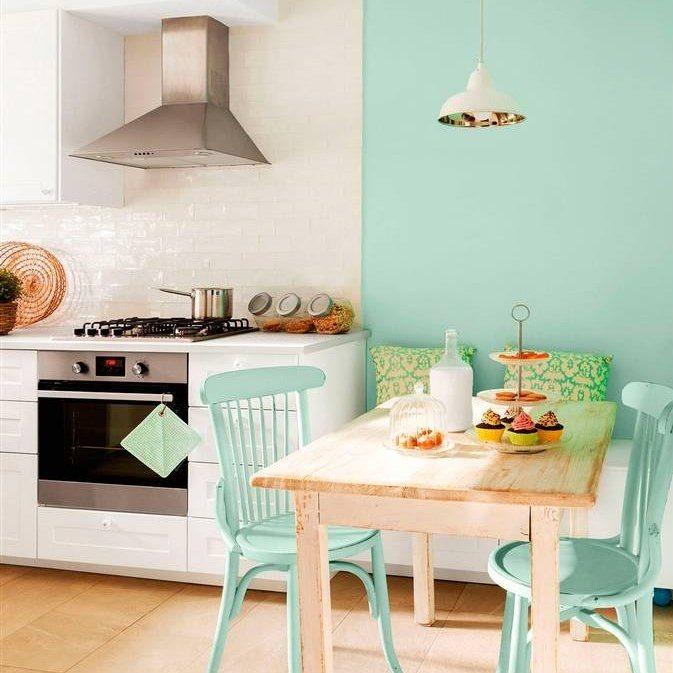 Muebles cocina verde menta ideas for Comedor blanco y madera
