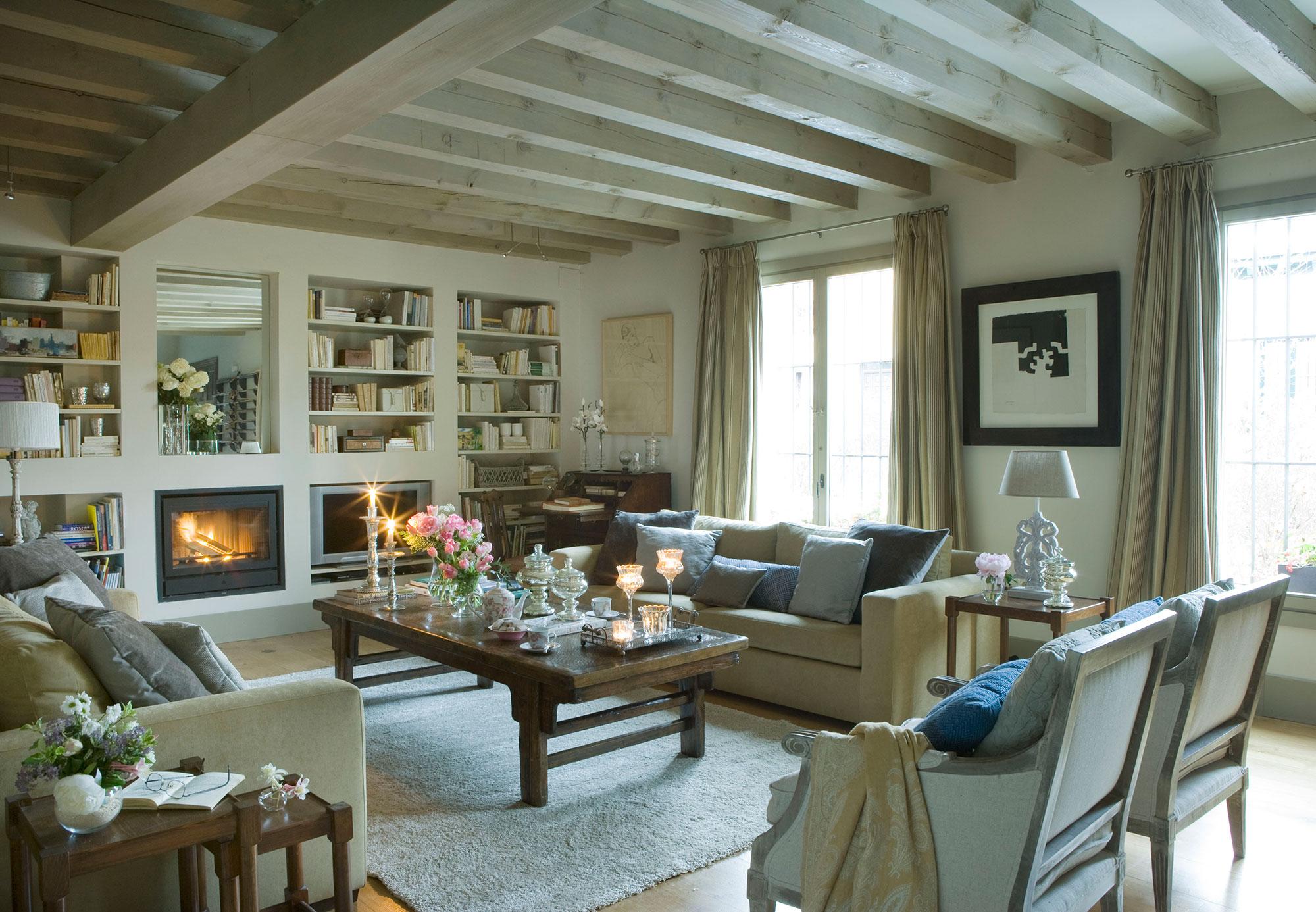 Los mejores 50 salones de el mueble - Chimenea de pared ...
