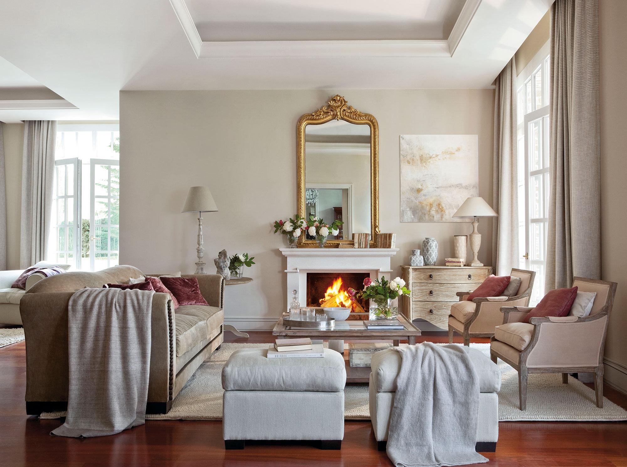 Los mejores 50 salones de el mueble - Salones con chimenea ...