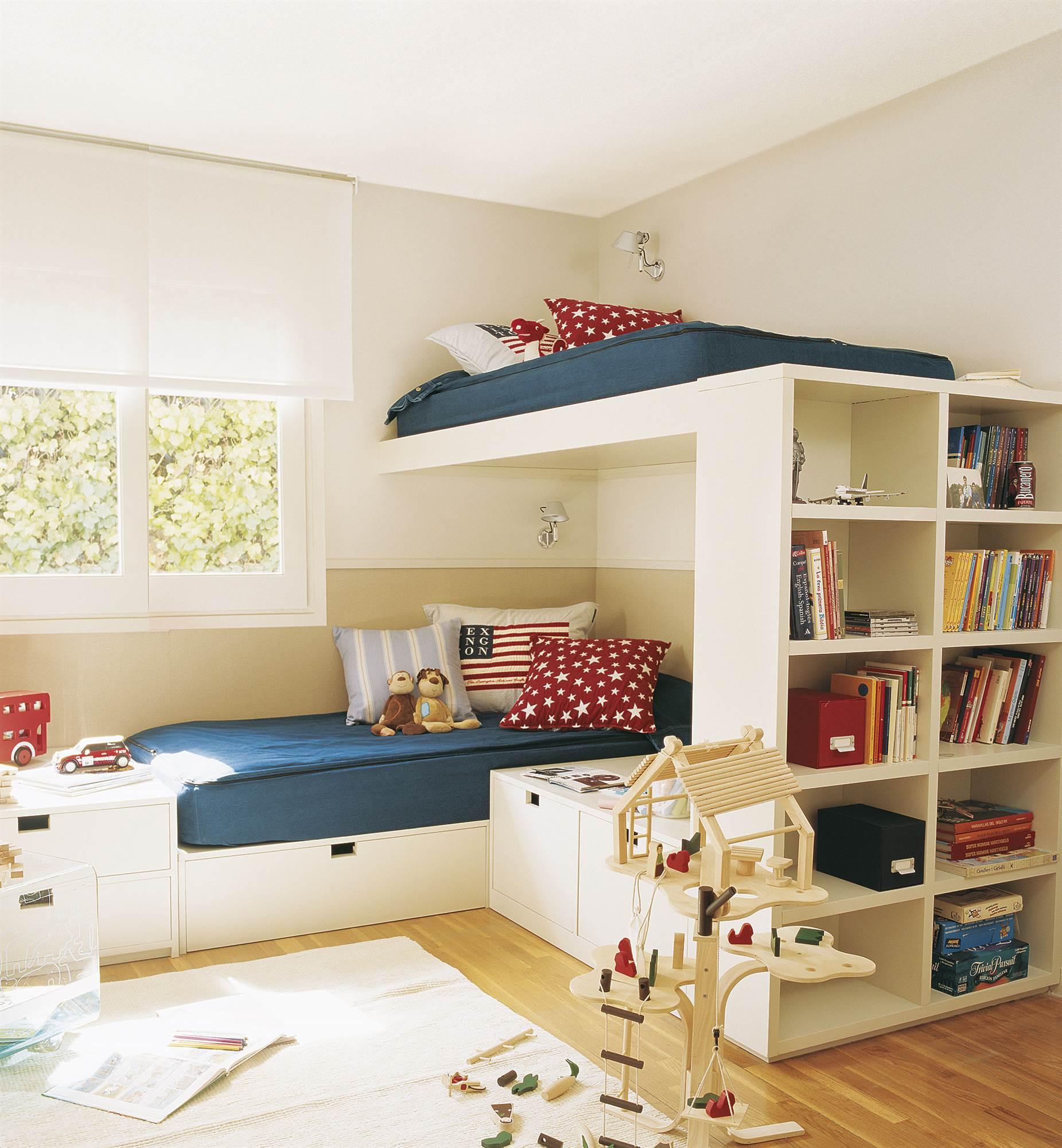 7ae41a171c388 Habitación infantil con cama alta. Con literas de altura
