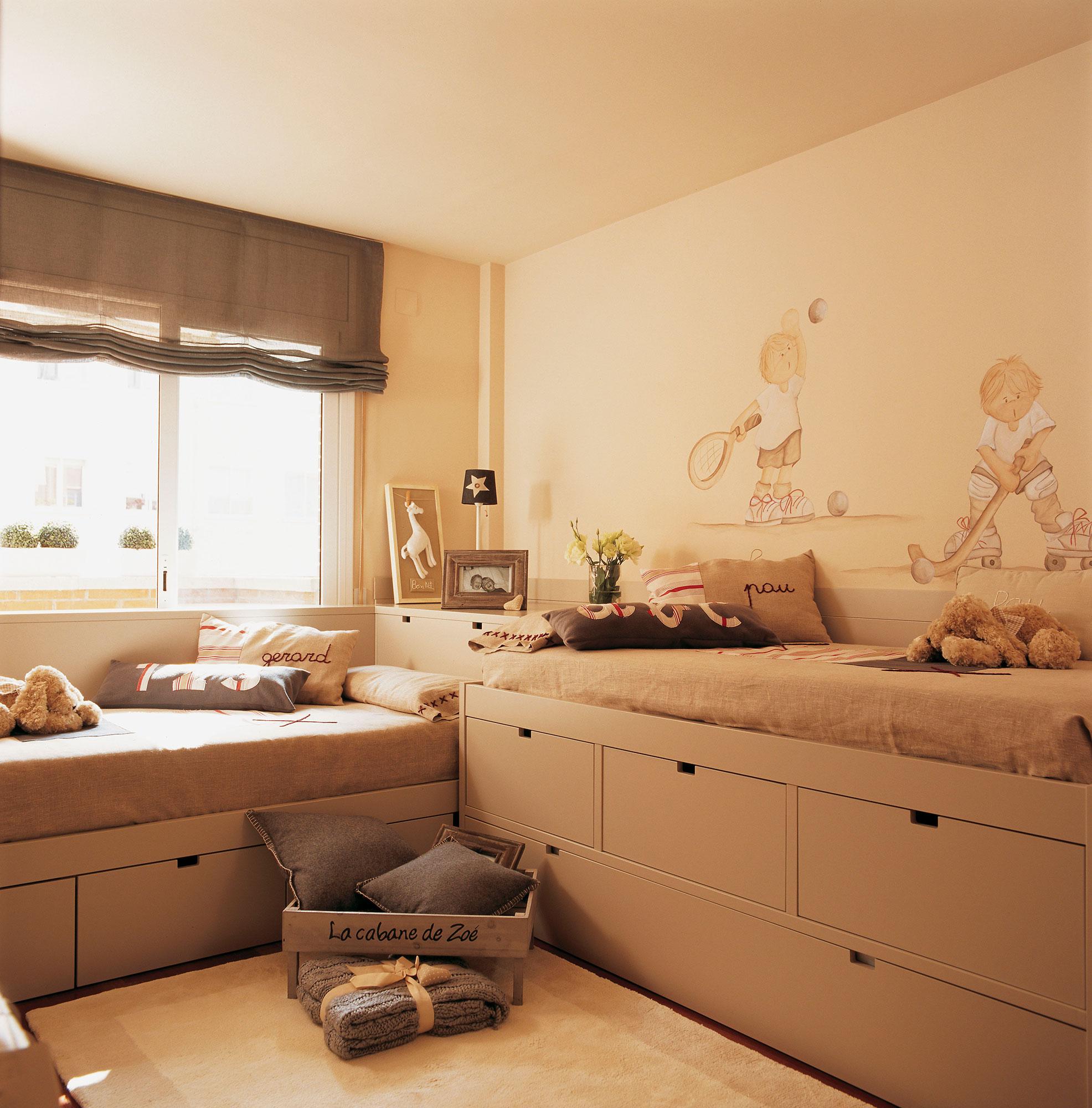 30 habitaciones para m s de dos ni os con buenas ideas - Habitacion infantil cama nido ...