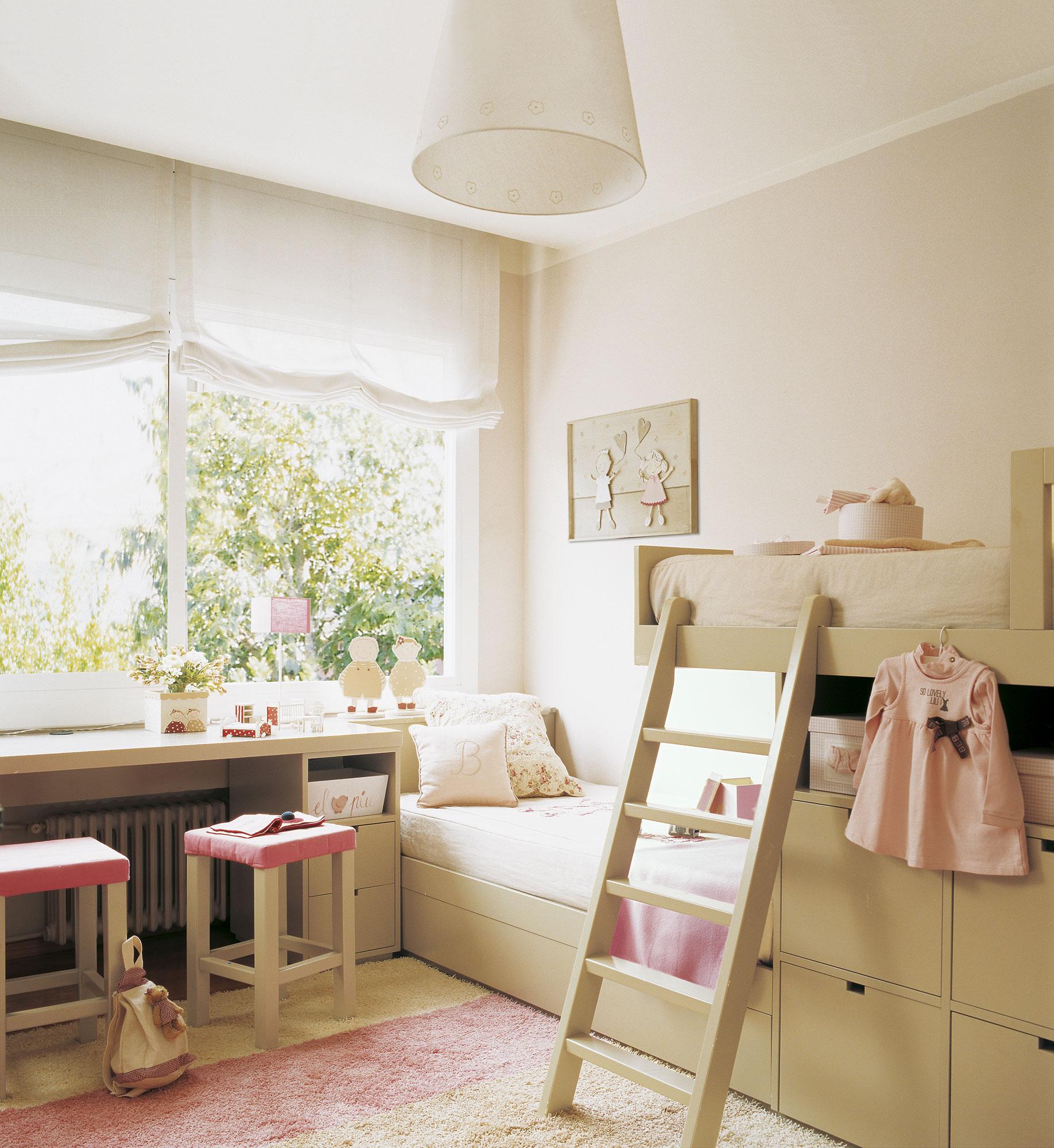 Habitación infantil con litera tipo tren