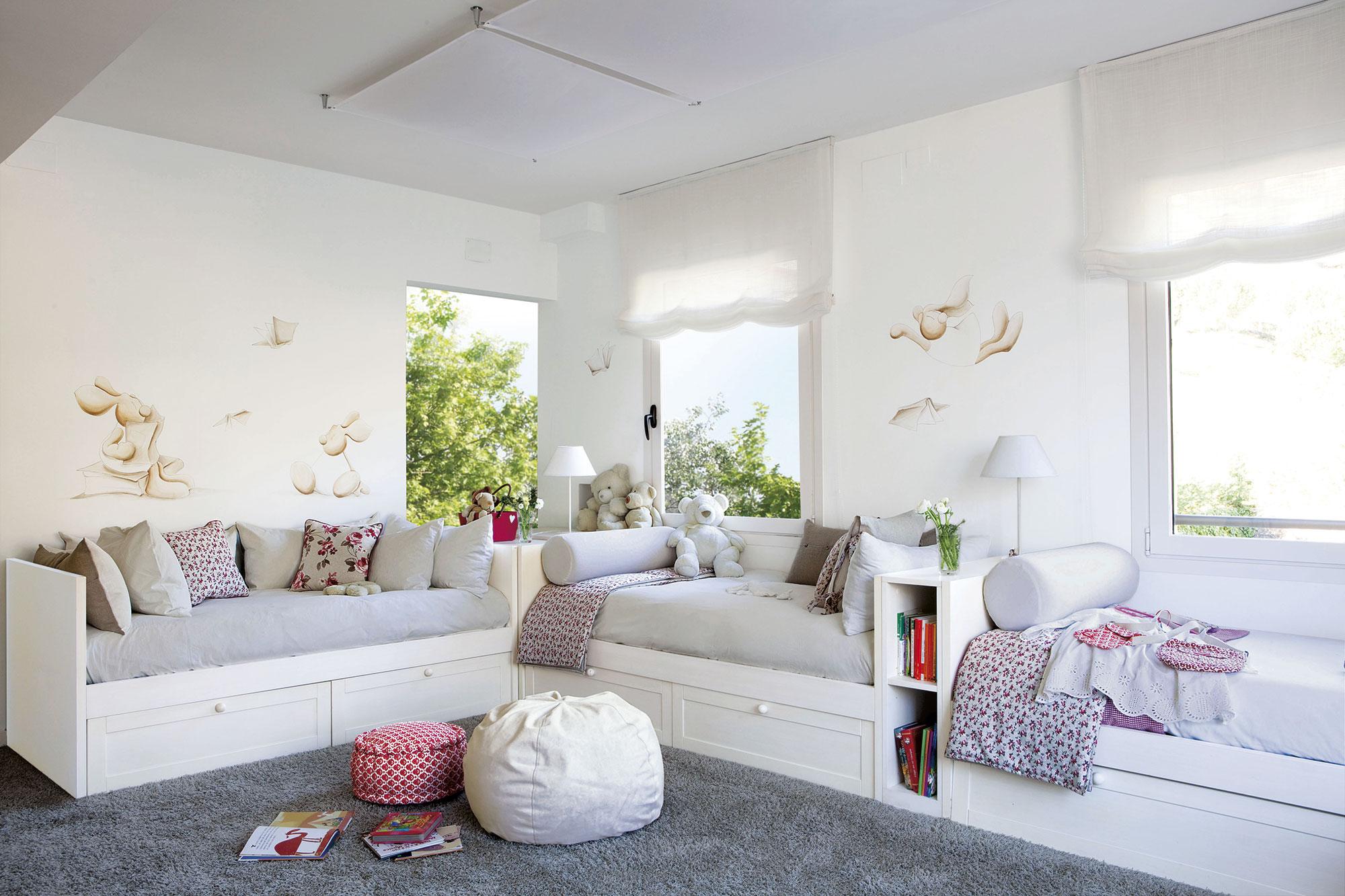 30 habitaciones para m s de dos ni os con buenas ideas for Habitaciones para ninas y adolescentes