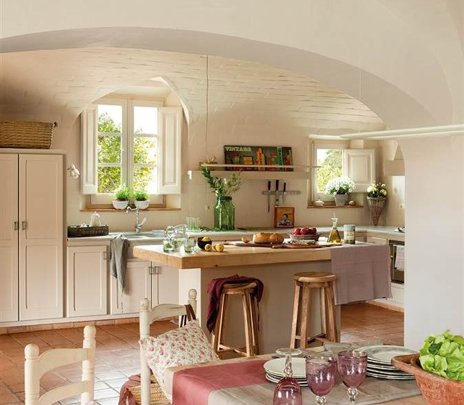 Mas a decorada con estilo vintage - Mesa cocina vintage ...