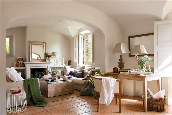 Mas a decorada con estilo vintage - Salones de casas de campo ...