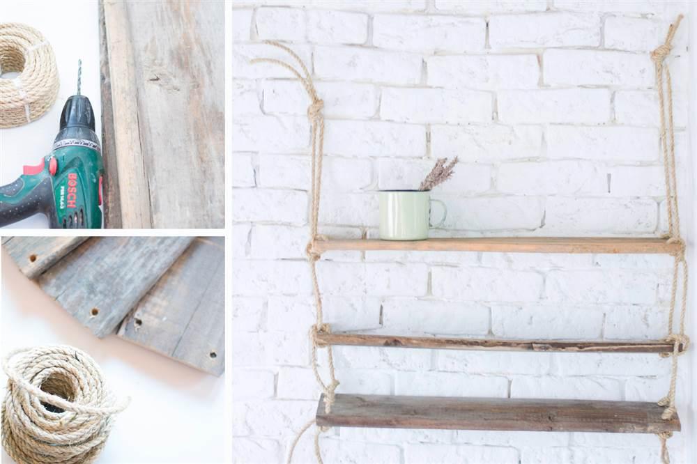 Cómo hacer la estantería de cuerda y madera de tendencia