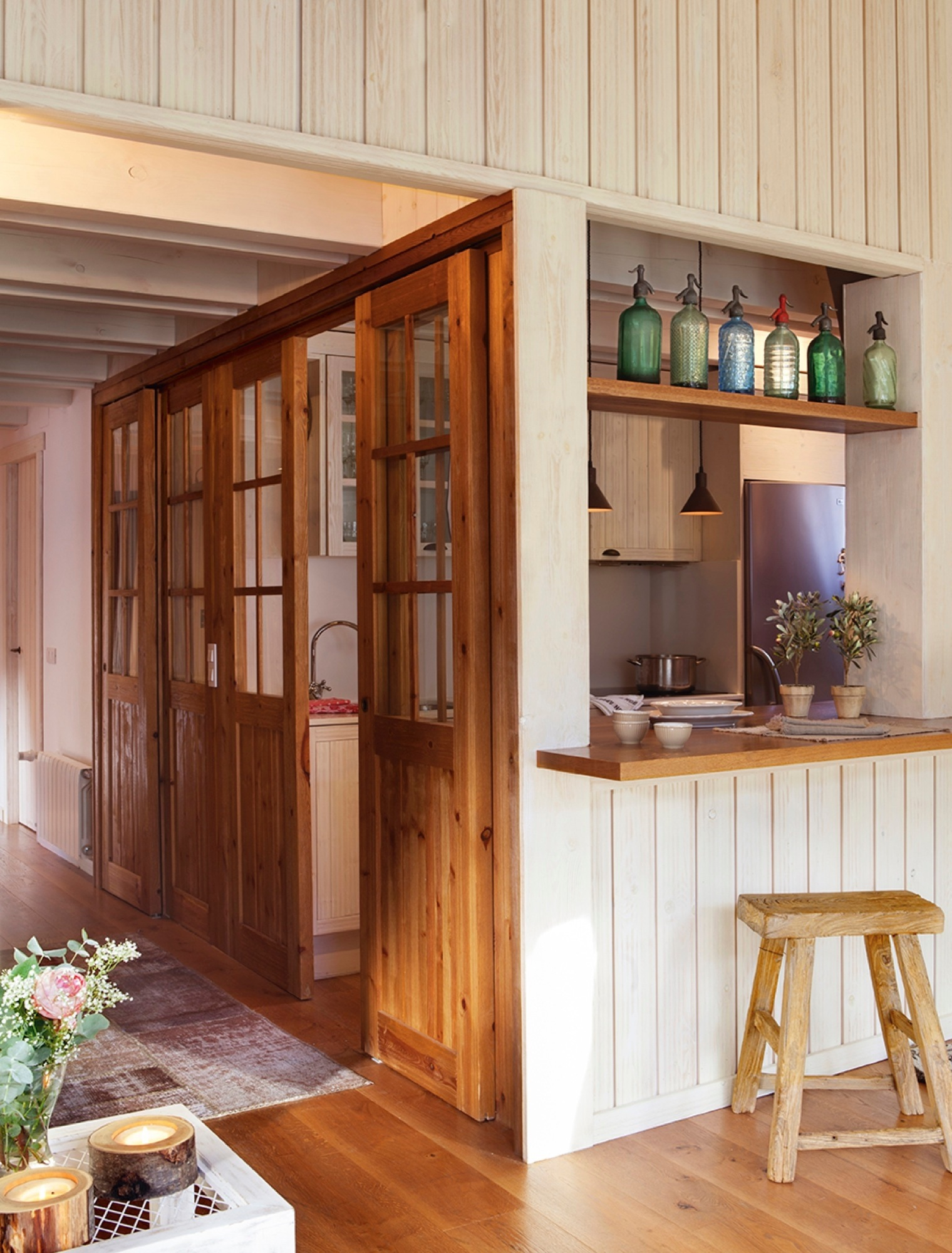 Puertas correderas de cristal de madera o empotradas - Paredes para cocina ...
