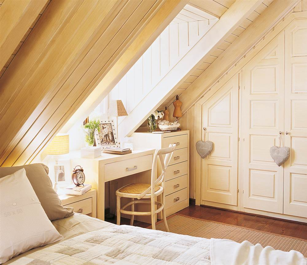 Ideas con muebles a medida para aprovechar rincones dif ciles for Casa procrear clasica techo inclinado 3 dormitorios