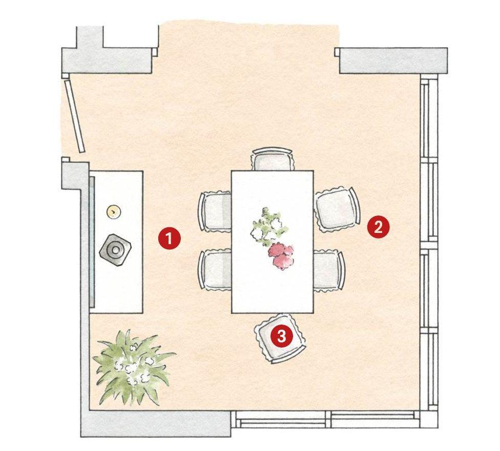 La distribuci n ideal en el sal n y el comedor con las for Planos de cocina y comedor