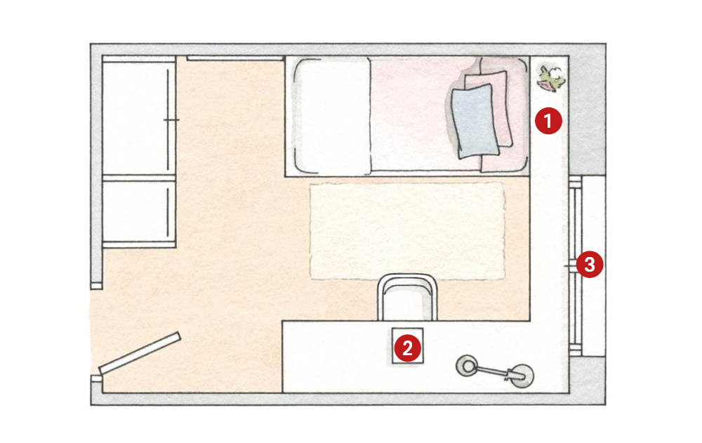C mo distribuir el dormitorio para ganar espacio y dormir for Cama 3 4 medidas