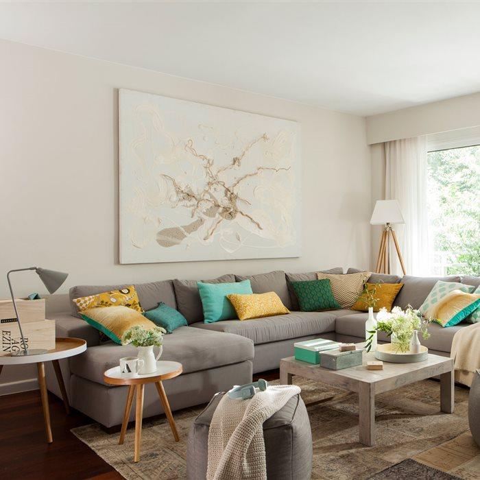 Salones con comedor buenas ideas para compartir espacio - Sofa gris como pintar las paredes ...