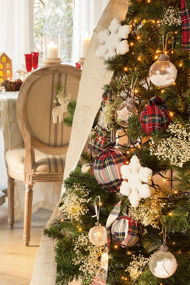 Decora en rojo cuadros y madera esta navidad - Arbol de navidad tela ...