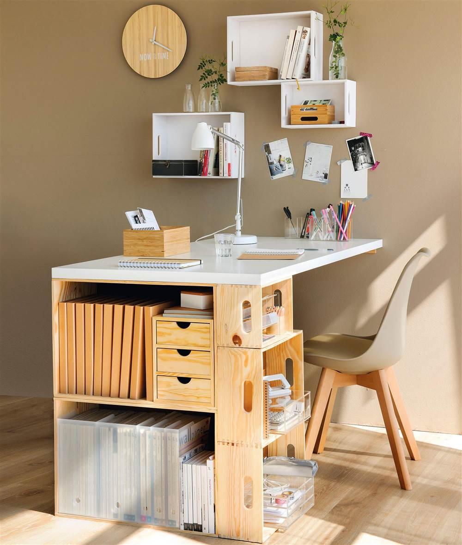 mesa hecha con cajas