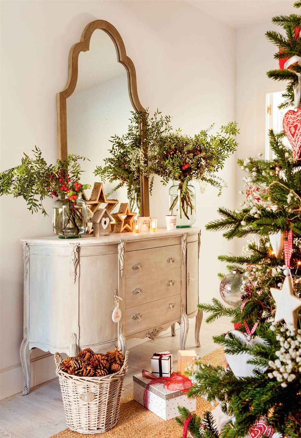 Navidad ideas para decorar de verde natural tu recibidor - Ambientador natural para casa ...