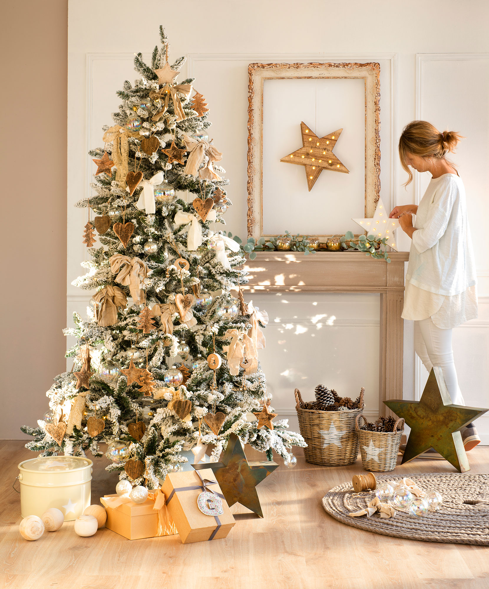 rbol de navidad en dorado blanco y cristal - Arbol De Navidad