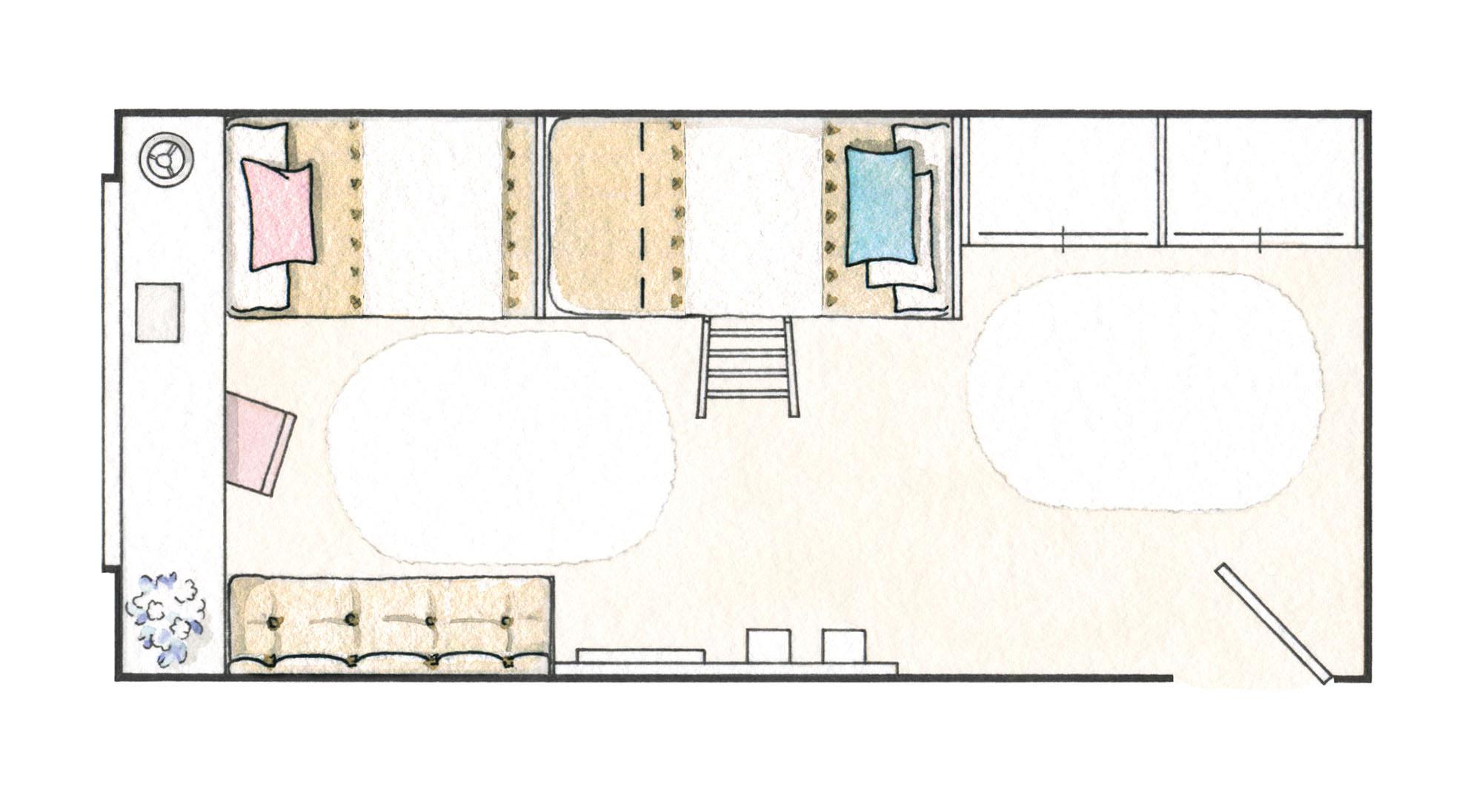 2 habitaciones infantiles bien aprovechadas que for Plano habitacion online
