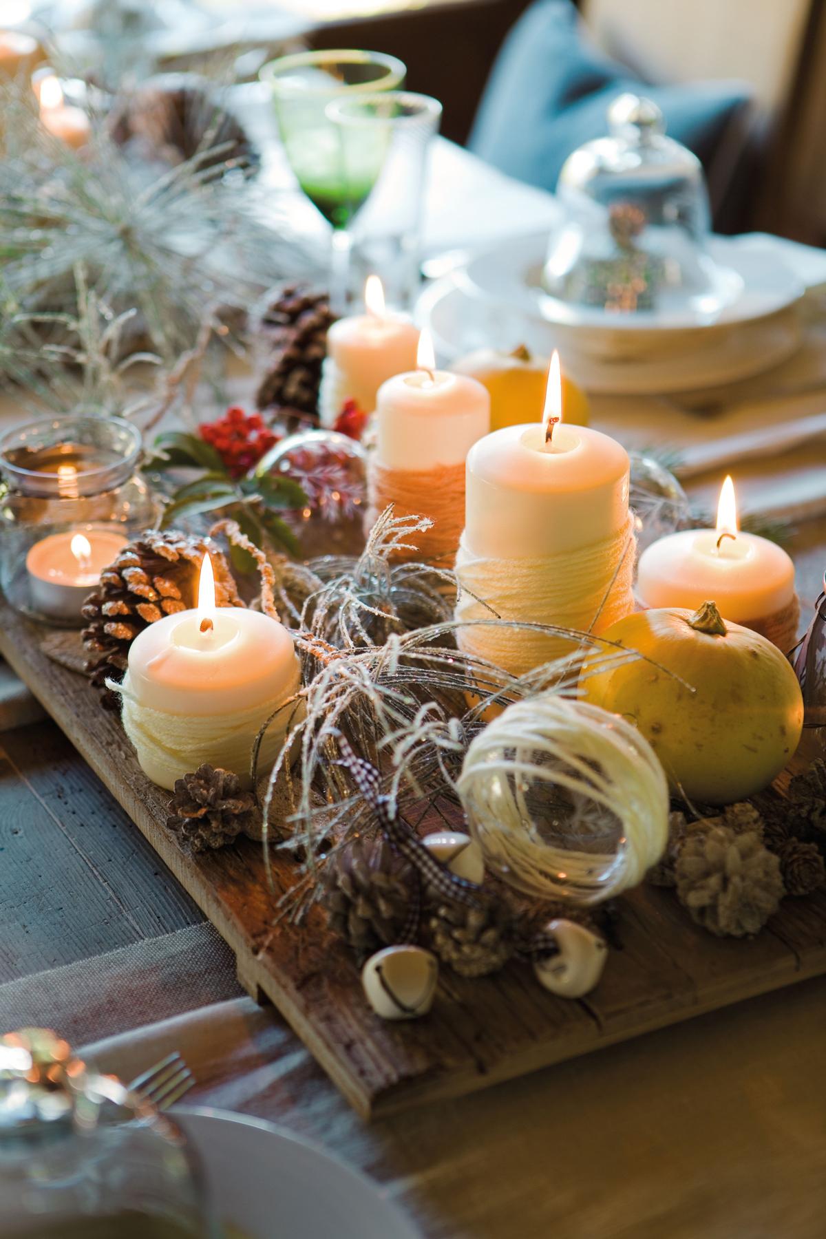 00354104. Centro de Navidad con madera, piñas y velas (354104)