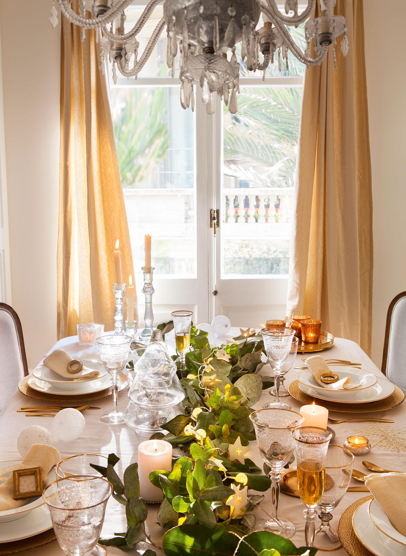 15 propuestas para decorar la mesa de fiesta - Luces para comedor ...