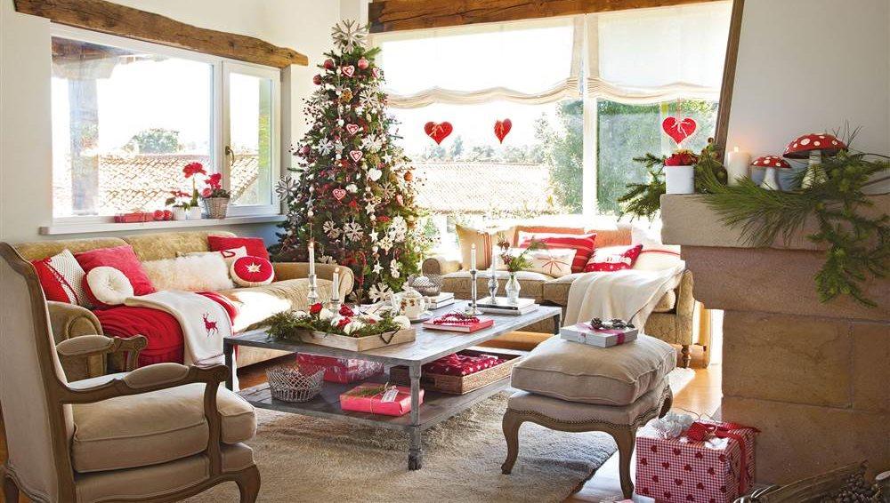 saln rstico decorado con rbol de navidad en blanco y rojo