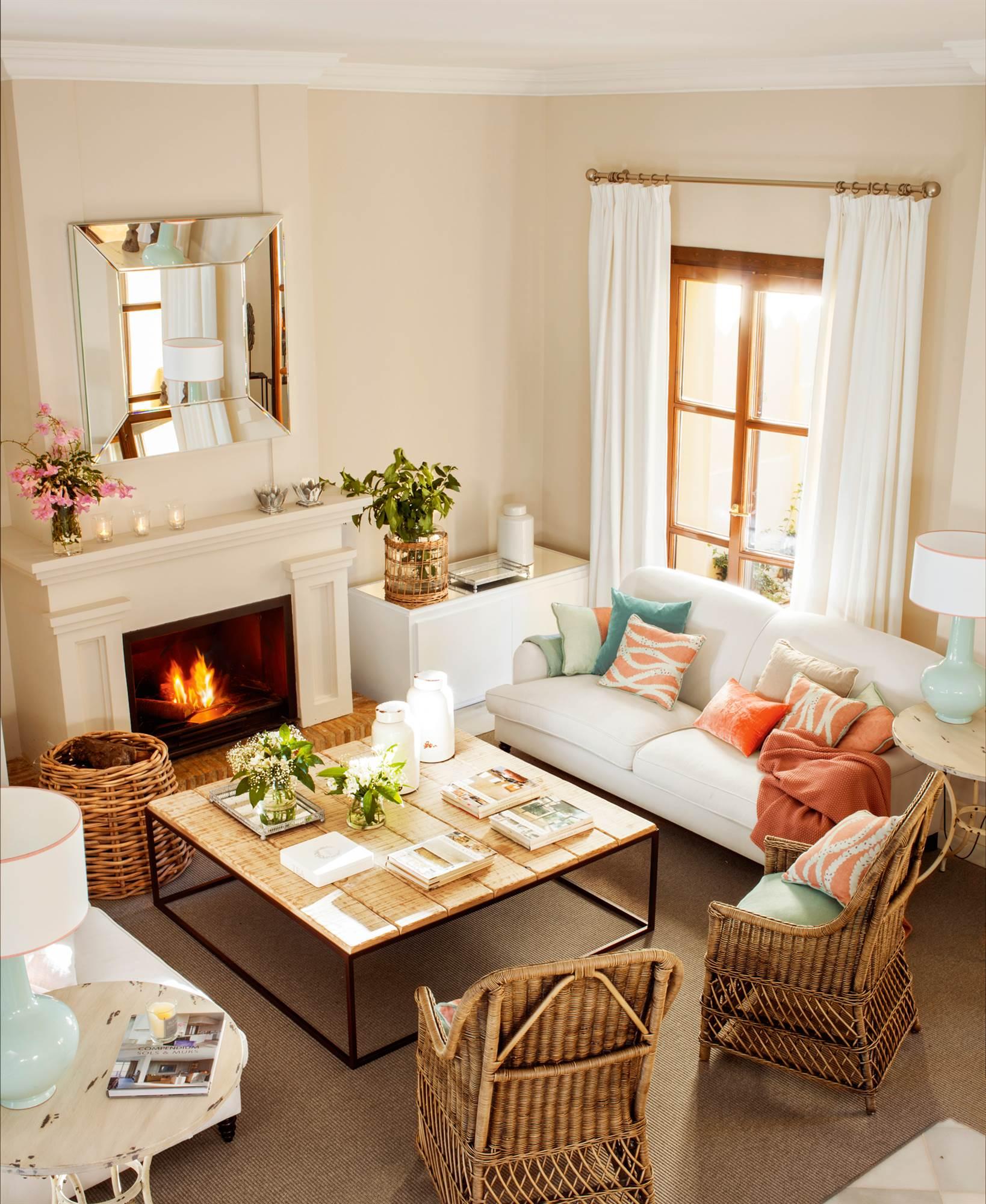 15 salones con chimenea para el invierno - Como decorar mueble salon ...