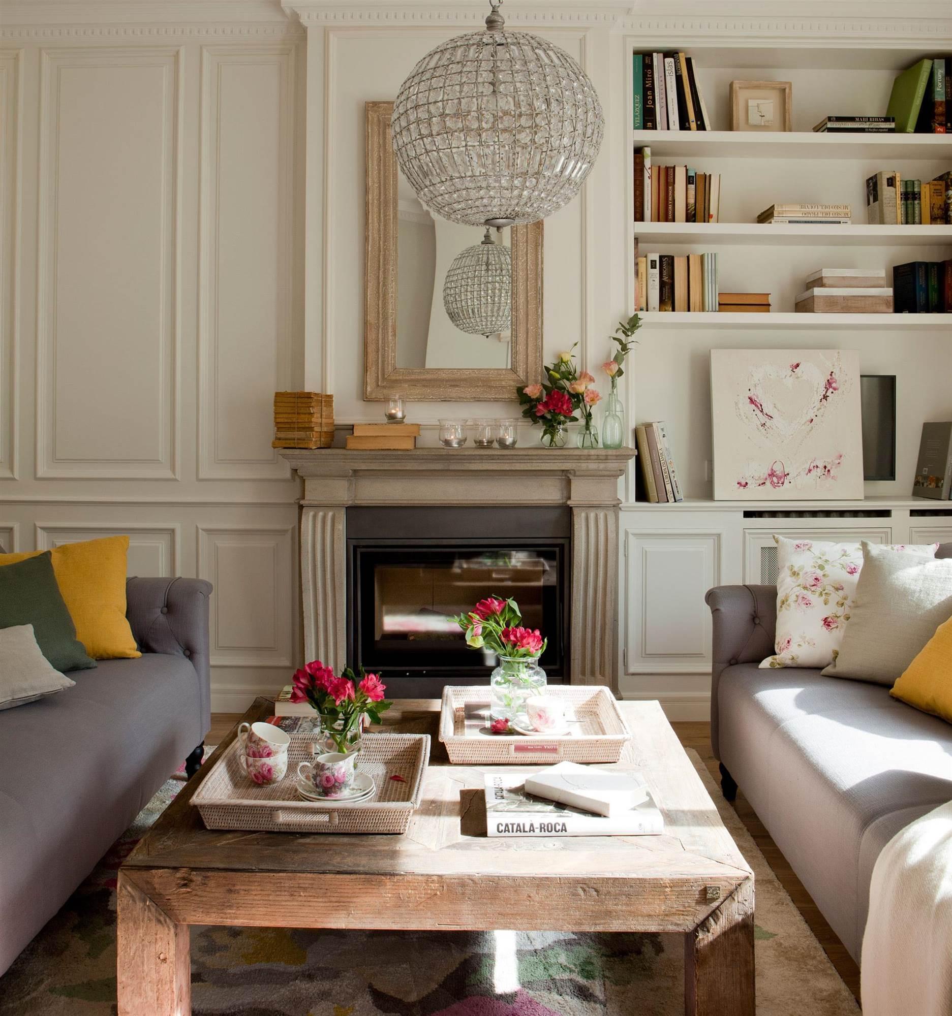 Ventajas de tener una chimenea en casa Librerias de pared