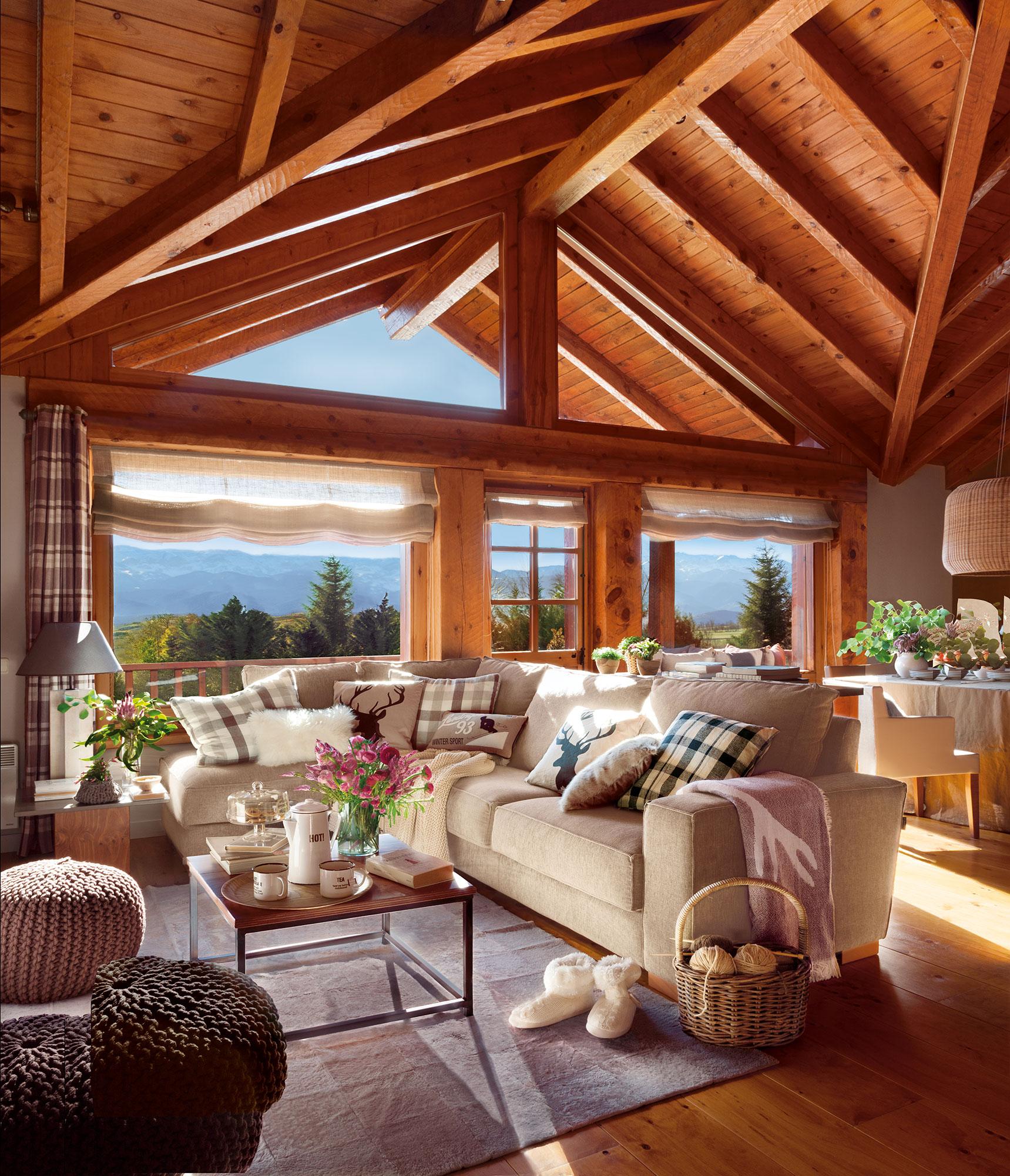 15 salones r sticos c lidos y con muy buenas ideas for Vigas de madera para jardin