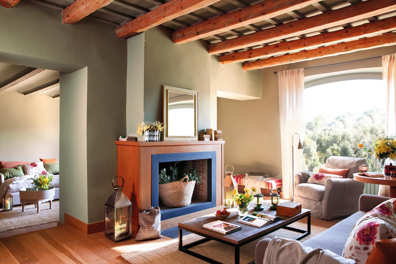 20 ideas para ganar calidez - Salon con chimenea ...