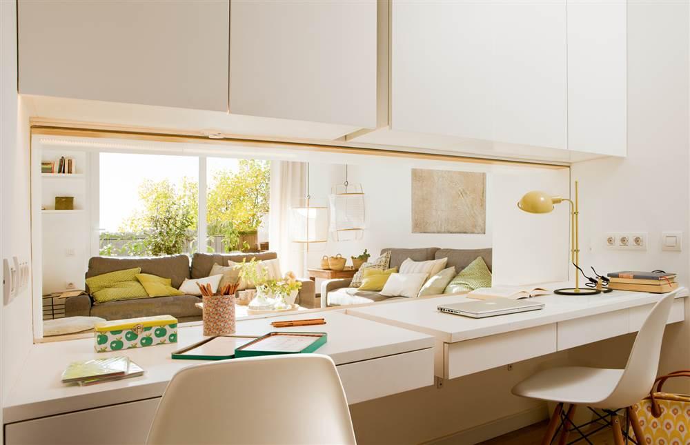 Muebles vers tiles con doble funci n ideales para espacios - Escritorio salon ...