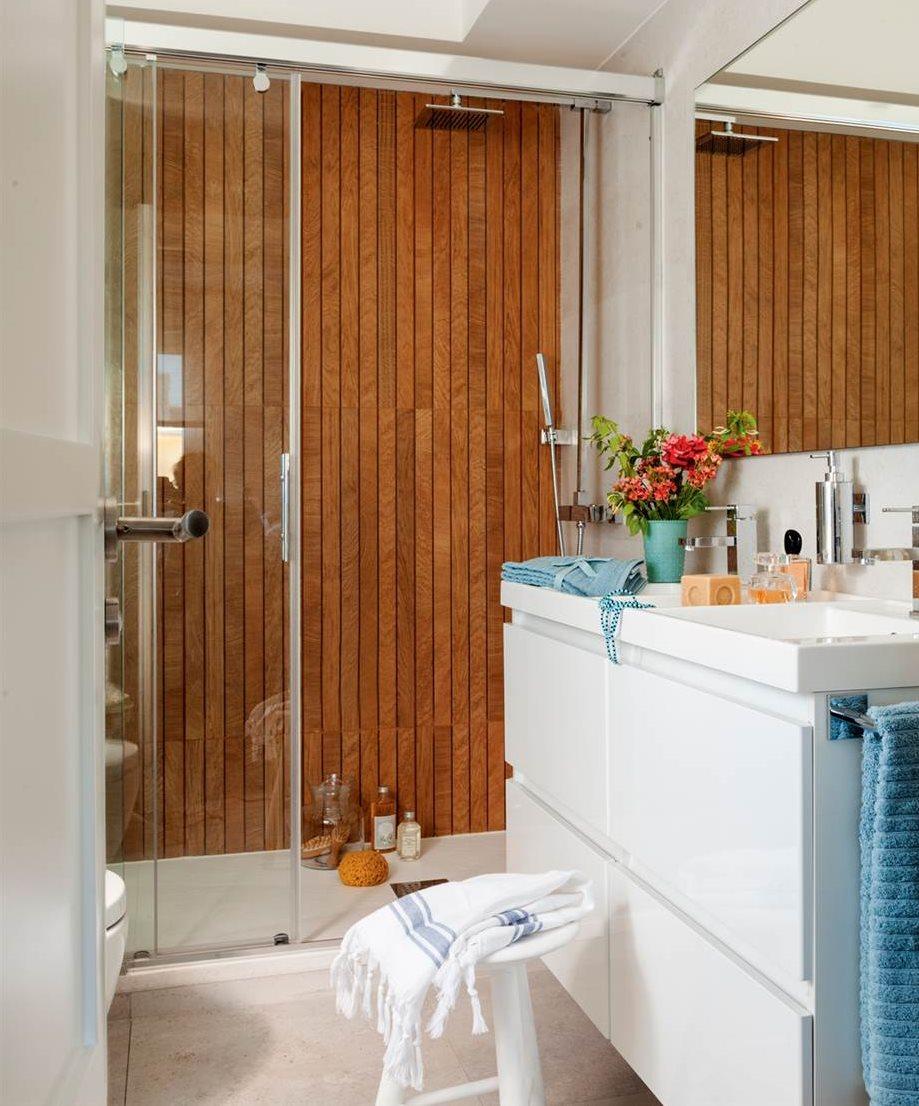 Muebles de bao para debajo del lavabo with decoracion for Ducha madera