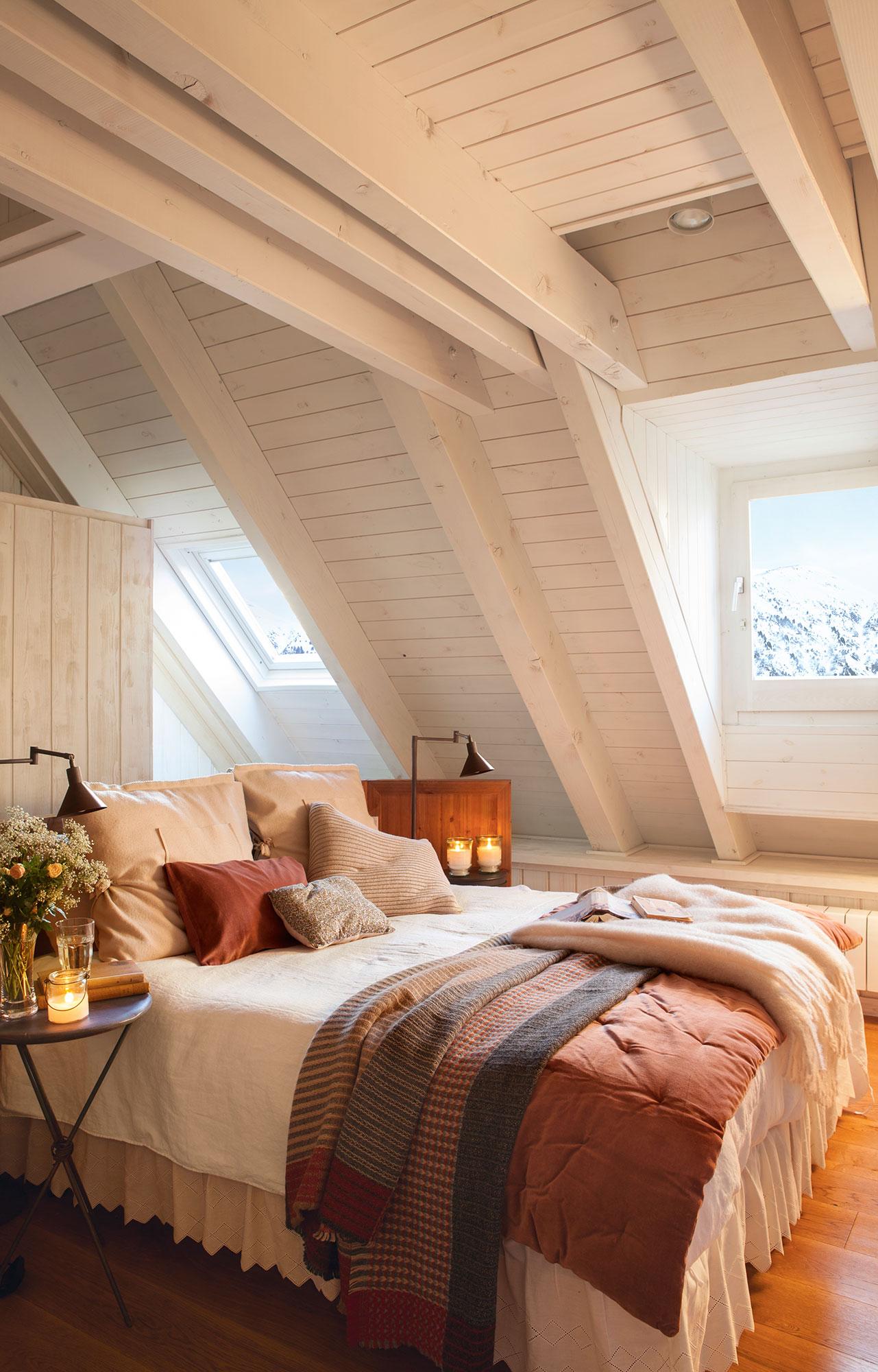 15 dormitorios r sticos decorativos y con buenas ideas - Dormitorios en blanco y madera ...