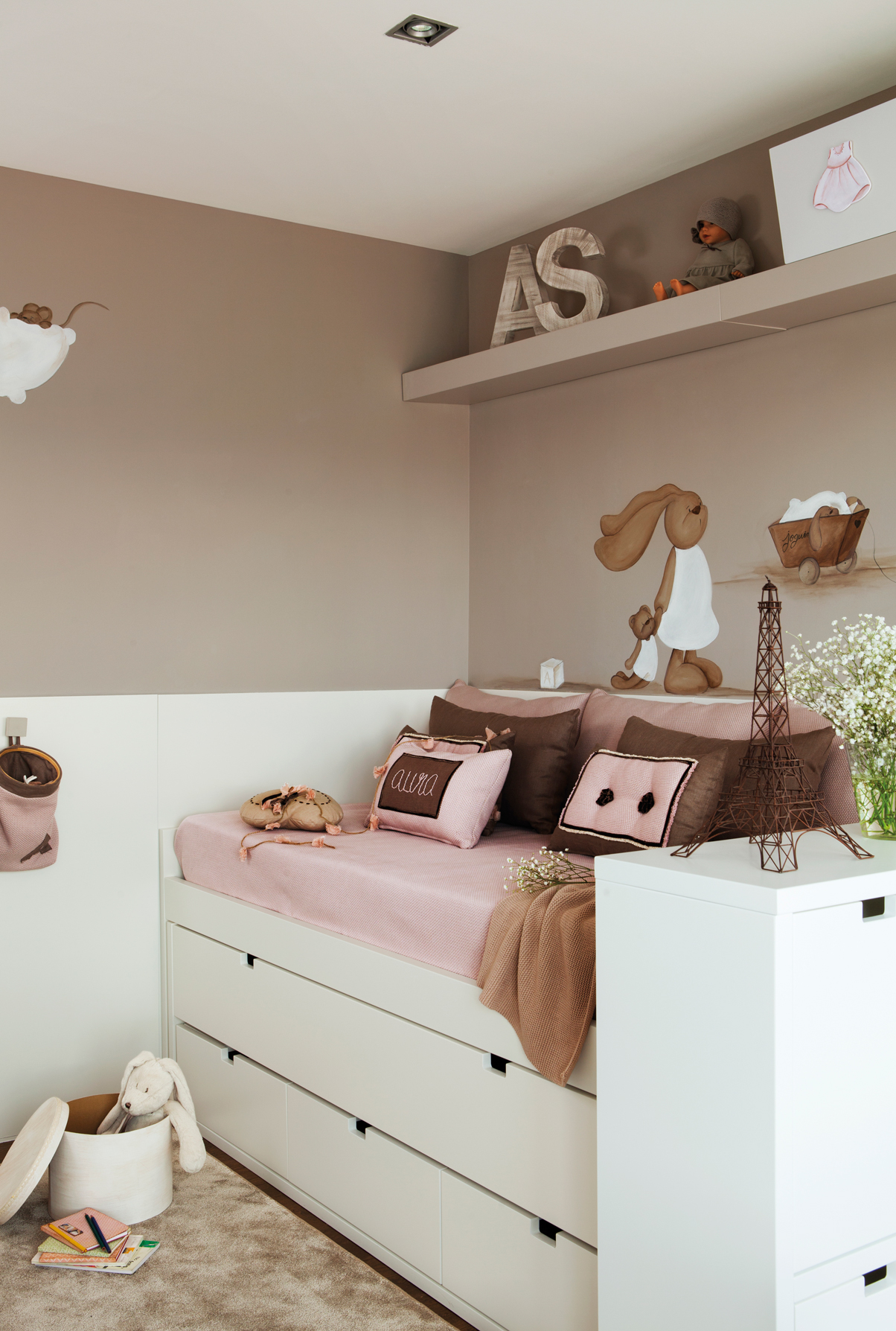 Cama infantil con cajones dormitorio infantil con cama - Cama nido blanca con cajones ...