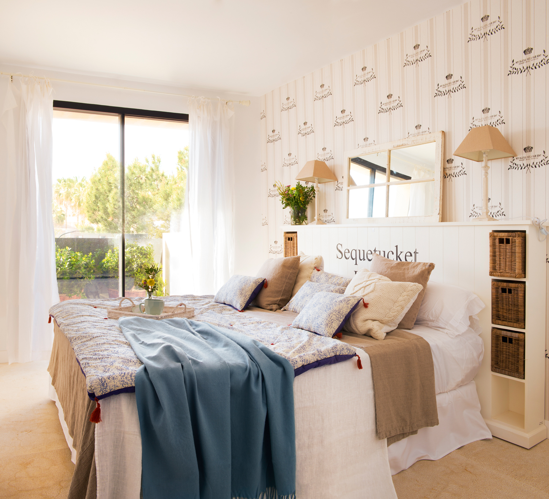 Ideas decorativas con rayas for Cabeceros de cama con papel pintado