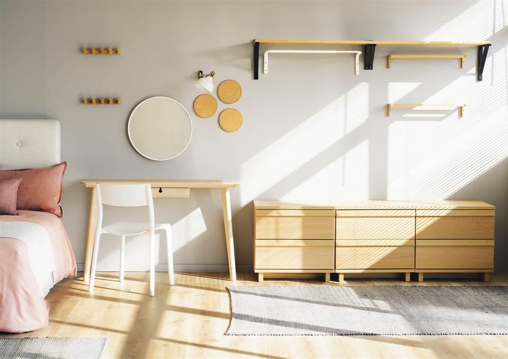 vestidor abierto con cajones colgadores estante y mesa tocador - Vestidor Abierto