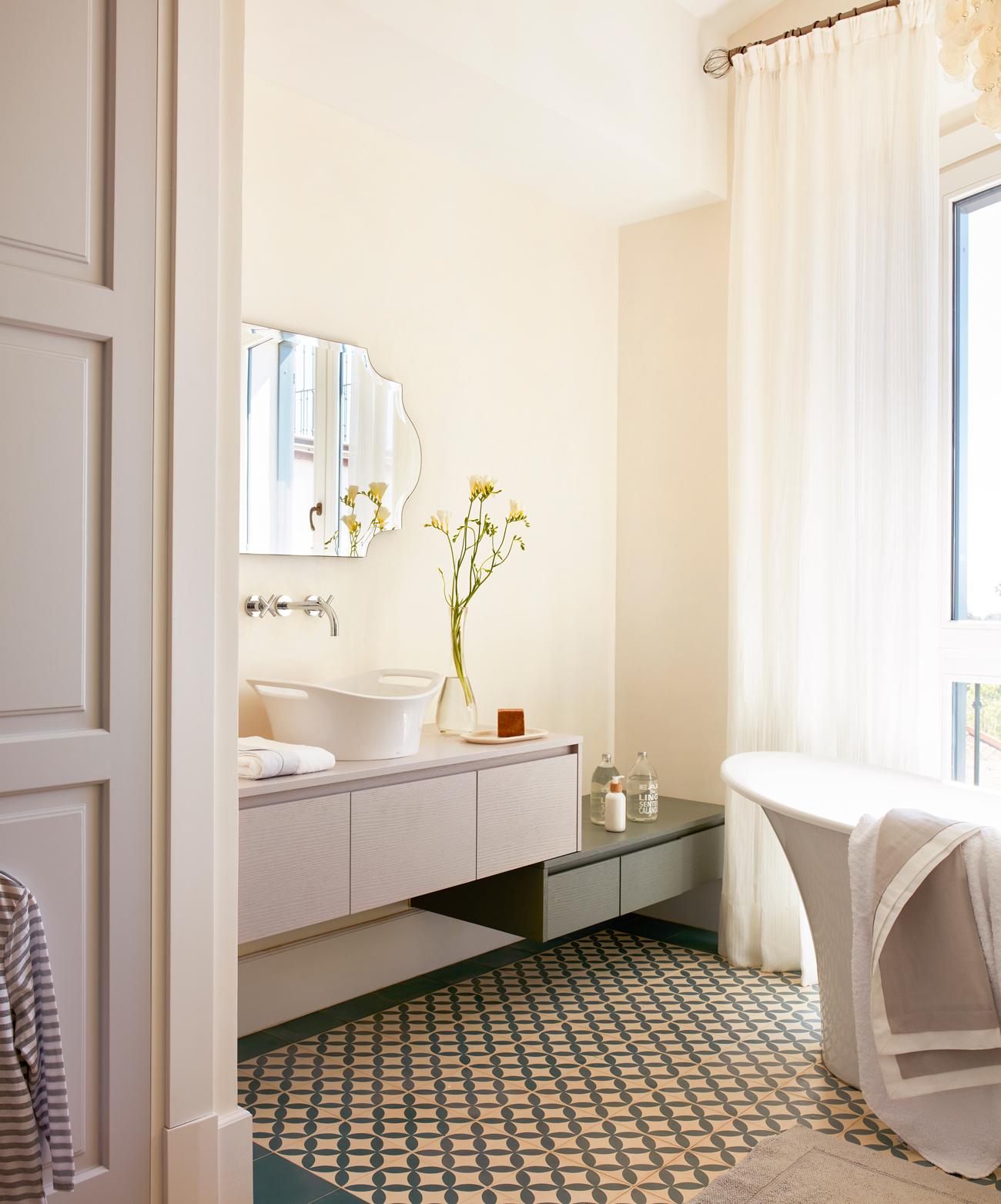 Un lavamanos para cada ba o for Azulejo hidraulico bano