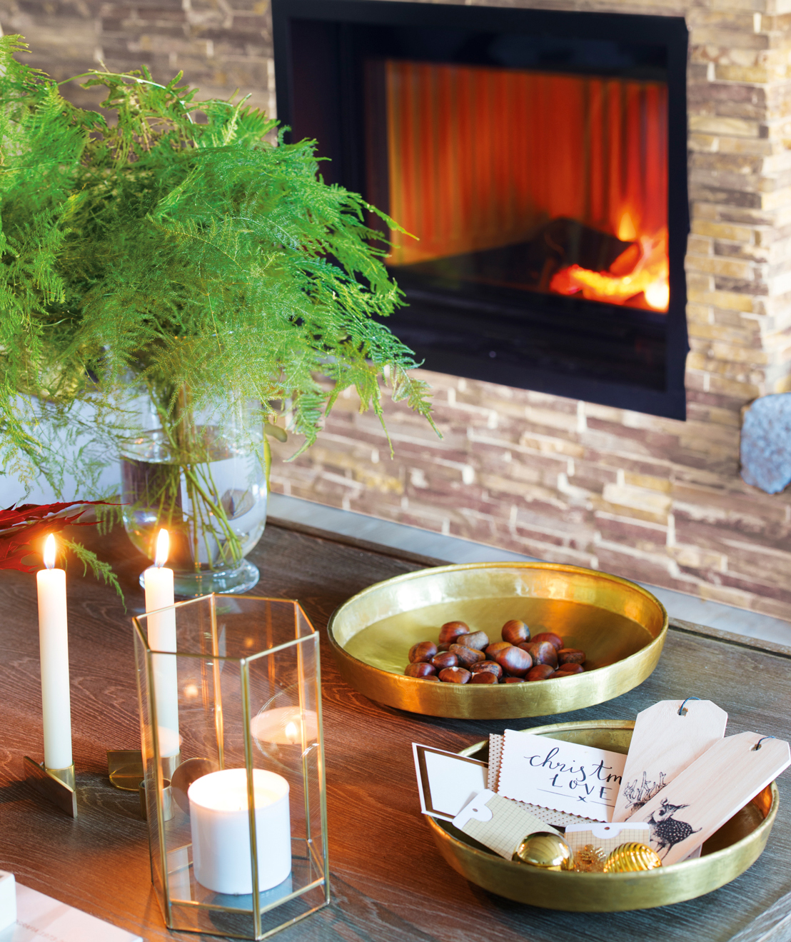 2.Mesa de centro con plantas y velas delante de chimenea-00444997