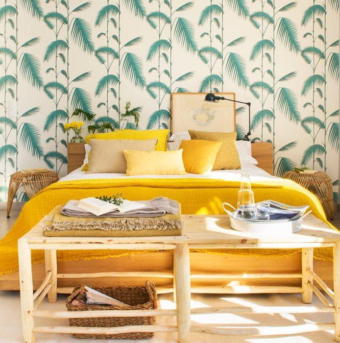 Tendencias de la nueva temporada oto o invierno 2017 - Dormitorio con papel pintado ...